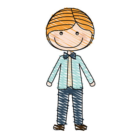 hand on chin: color pencil drawing of caricature blonded guy with jacket and pants vector illustration