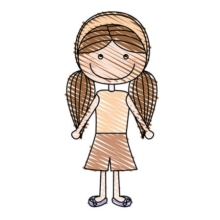 color pencil drawing of caricature pigtails hairstyle girl with shirt and skirt vector illustration