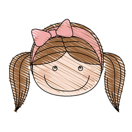 Color pencil drawing of caricature front face girl with pigtails and pink bow lace hair vector illustration
