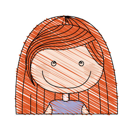 color pencil drawing of caricature half body girl with red long hair vector illustration