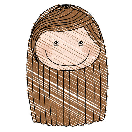 Color pencil drawing of caricature front face girl with brown striped long hair vector illustration Illustration