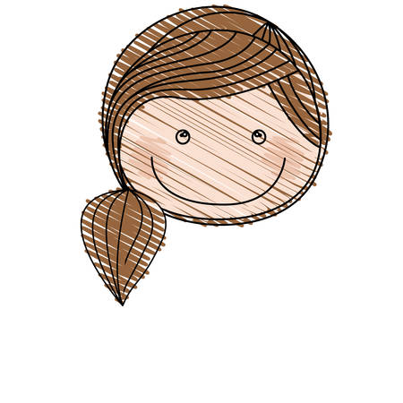 color pencil drawing of caricature front face girl with brown ponytail hair vector illustration