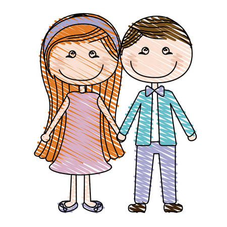 taken: Color pencil drawing of caricature couple in suit formal with taken hands vector illustration Illustration