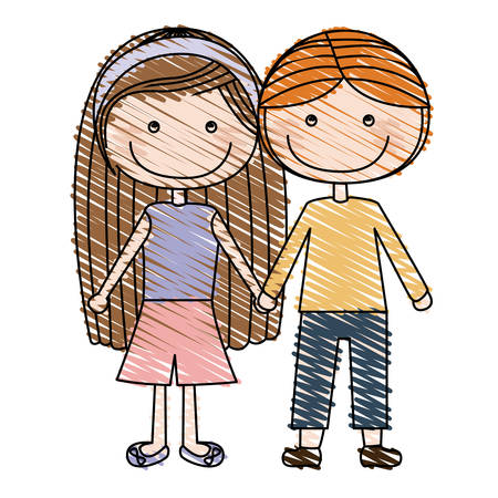 Color pencil drawing of caricature couple kids in casual clothes with taken hands vector illustration