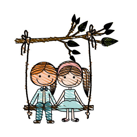 taken: Color pencil drawing of caricature blond guy and girl with pigtails hairstyle sit in swing hanging from a branch vector illustration