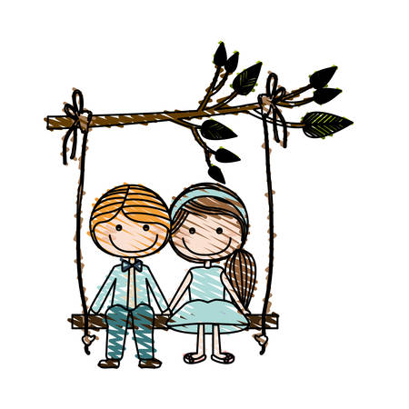 Color pencil drawing of caricature blond guy in formal suit and girl with ponytail hairstyle sit in swing hanging from a branch vector illustration