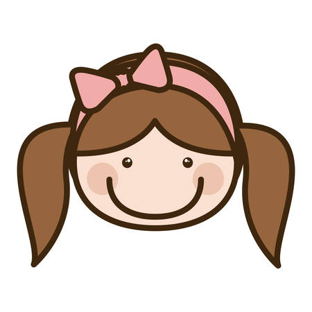 Color silhouette cartoon front face girl with pigtails and pink bow lace hair vector illustration