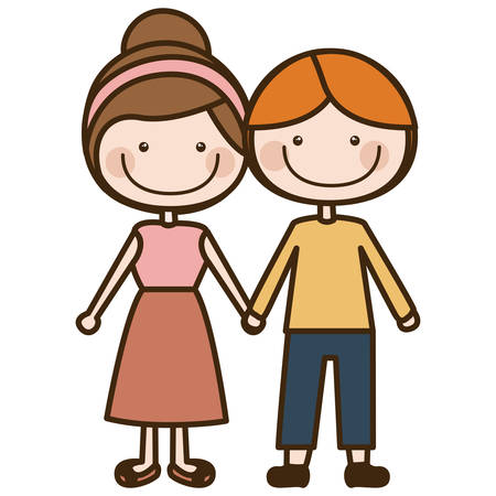 happy woman: color silhouette cartoon blond guy hair and girl collected hairstyle with taken hands vector illustration