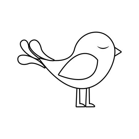 paloma caricatura: silueta monocromo con lindo pájaro ilustración vectorial