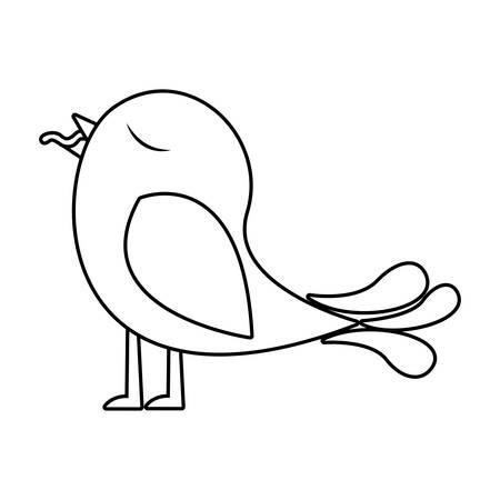 paloma caricatura: Monocromo silueta de pájaro con gusano en el pico ilustración vectorial Vectores