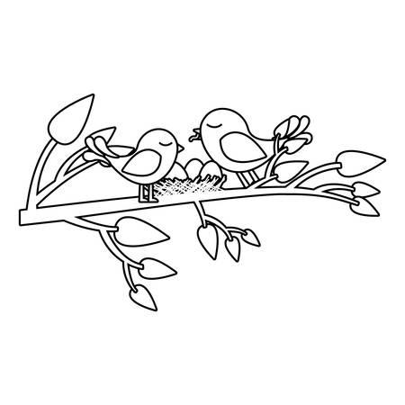 paloma caricatura: Monocromo silueta de los pájaros y el nido en la rama del árbol ilustración vectorial