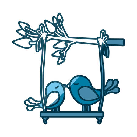 swinging: blue silhouette of tree branch with swing and couple of birds vector illustration