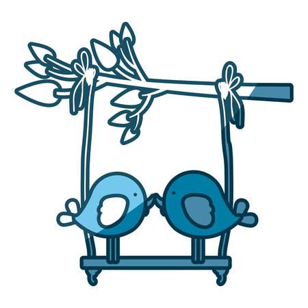 paloma caricatura: silueta azul de la rama de un árbol con swing y un par de aves en la ilustración vectorial de primer plano