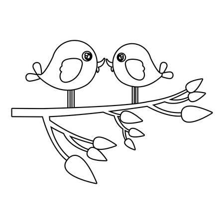 Silhouette monochrome avec paire d'oiseaux dans l'arbre branche illustration vectorielle Banque d'images - 76499807