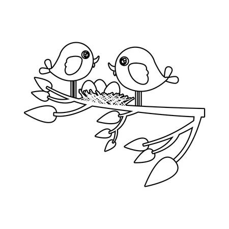 paloma caricatura: monocromo silueta de los pájaros y el nido en la rama del árbol en la ilustración vectorial de primer plano