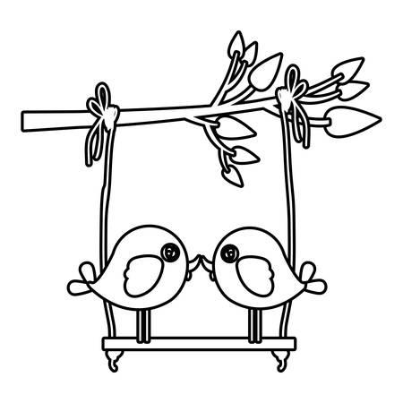 paloma caricatura: monocromo silueta de la rama de un árbol con swing y un par de aves en primer plano ilustración vectorial