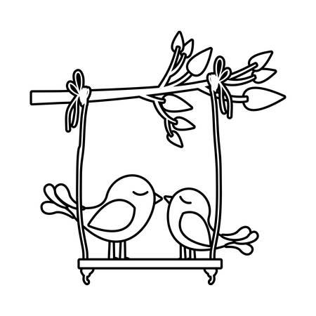 paloma caricatura: Monocromo silueta de rama de árbol con swing y par de aves ilustración vectorial