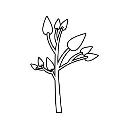 monochrome silhouette of small tree with leafs vector illustration