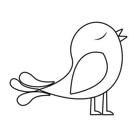 paloma caricatura: monocromo silueta de pájaro cantando ilustración vectorial