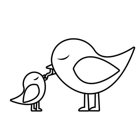 paloma caricatura: monocromo silueta de aves de alimentación de un polluelo ilustración vectorial