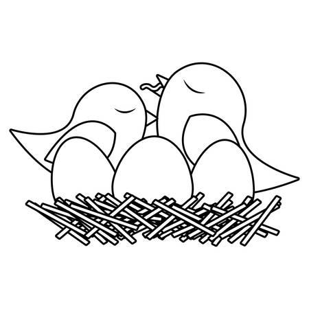 paloma caricatura: monocromo silueta de aves en el nido con los huevos y el polluelo ilustración vectorial Vectores