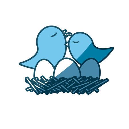 paloma caricatura: Silueta azul de aves en el nido con los huevos y el polluelo ilustración vectorial