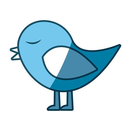 paloma caricatura: azul silueta de pájaro cantando ilustración vectorial