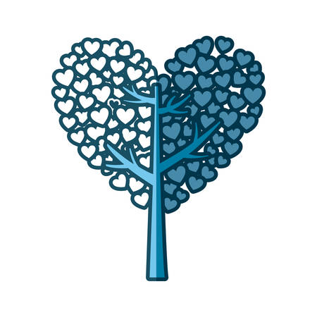 blue silhouette of tree with leaves in shape of heart vector illustration