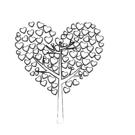 arboles frondosos: monochrome sketch of tree with leaves in shape of heart vector illustration