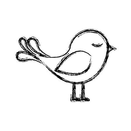 monochrome sketch with cute bird vector illustration