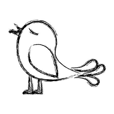 paloma caricatura: monocromo bosquejo de pájaro con gusano en el pico ilustración vectorial Vectores