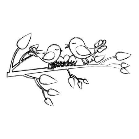 paloma caricatura: monocromo bosquejo de aves y el nido en la rama del árbol ilustración vectorial Vectores