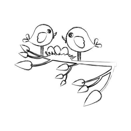 Croquis monochrome des oiseaux et nid dans une branche d'arbre en illustration vectorielle closeup Banque d'images - 76499925