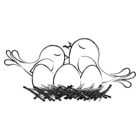 paloma caricatura: monocromo bosquejo de aves en el nido con los huevos y el polluelo ilustración vectorial