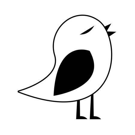 paloma caricatura: Negro silueta de pájaro cantando ilustración vectorial