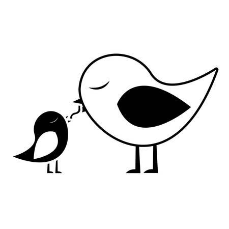 paloma caricatura: Negro silueta de aves de alimentación de un polluelo ilustración vectorial Vectores