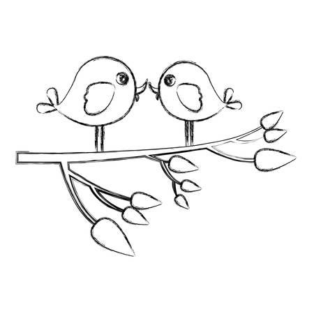 paloma caricatura: Bosquejo monocromo con pájaros de pareja en rama de árbol ilustración vectorial Vectores