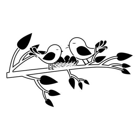 paloma caricatura: negro silueta de los pájaros y el nido en la rama del árbol ilustración vectorial Vectores