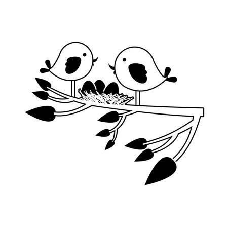 paloma caricatura: silueta negra de los pájaros y el nido en la rama del árbol en la ilustración vectorial de primer plano Vectores