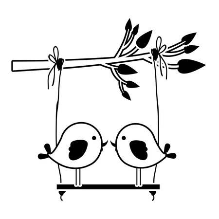 paloma caricatura: Silueta negra de rama de árbol con swing y par de aves en la ilustración vectorial de primer plano