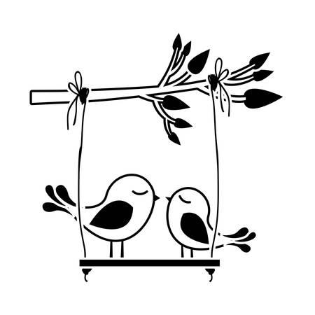 paloma caricatura: silueta negra de rama de árbol con swing y par de aves ilustración vectorial