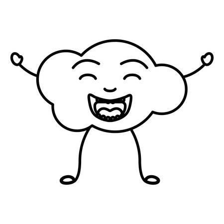 clouds: monochrome contour of caricature of the cloud smiling with arms and legs vector illustration Illustration