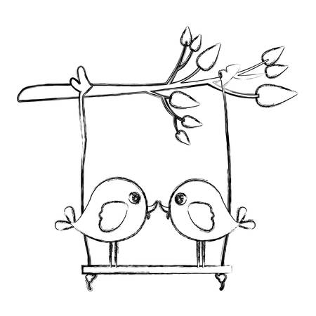 paloma caricatura: Monocromo bosquejo de rama de árbol con swing y par de aves en primer plano ilustración vectorial Vectores