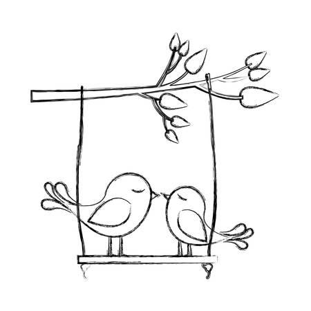 paloma caricatura: Monocromo bosquejo de rama de árbol con swing y par de aves ilustración vectorial