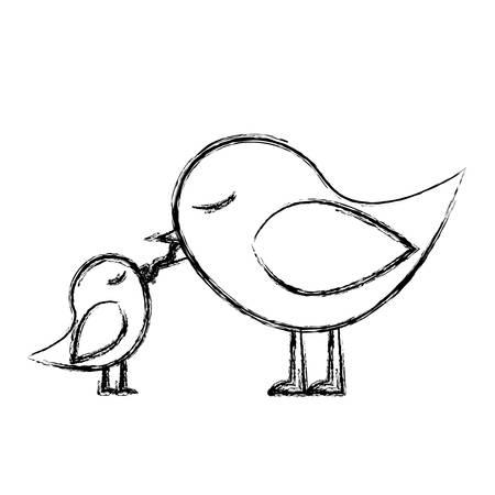 paloma caricatura: Bosquejo monocromo de la alimentación de un pájaro chick ilustración vectorial