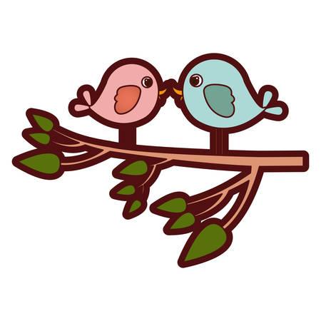 paloma caricatura: colorida silueta gruesa con pájaros de pareja en rama de árbol ilustración vectorial
