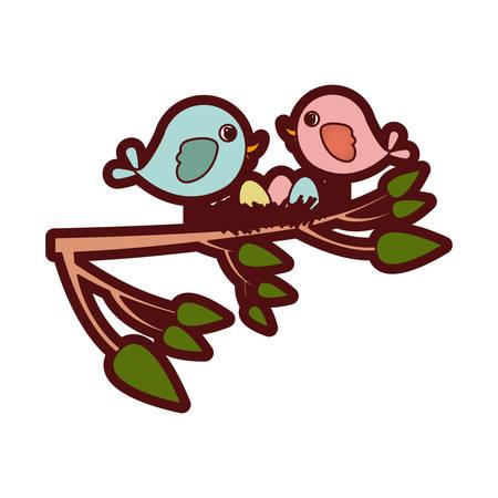 paloma caricatura: Colorida silueta gruesa de los pájaros y el nido en la rama del árbol en la ilustración vectorial de primer plano