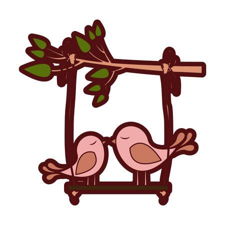 paloma caricatura: Colorido gruesa silueta de rama de árbol con swing y par de pájaros ilustración vectorial