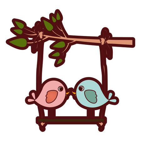 paloma caricatura: Colorido gruesa silueta de la rama de un árbol con swing y par de aves en la ilustración vectorial de primer plano