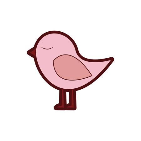 paloma caricatura: Colorido silueta gruesa con lindo pájaro ilustración vectorial Vectores